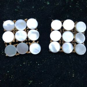 Jewelry - Vintage  Clip On Earrings Mother Of Pearl GoldTone